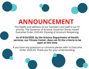 Fitness Center Closed as of 09/24/20